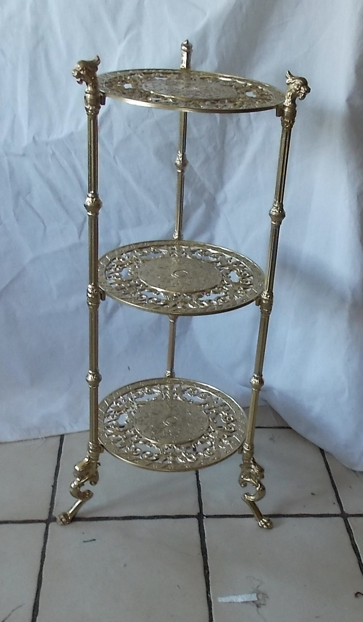 ps10 Mahogany 3 Tier Plant Stand Post-1950